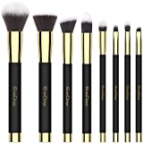 Set di 8 pezzi Set di pennelli trucco viso ombretto, eyeliner, fondotinta blush lip makeup brushes Powder Liquid Cream Cosmetics Blending Tools (oro nero)