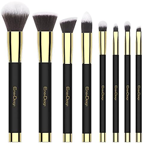 Emaxdesign Make-up Pinsel Set 8 Stück professionellen bürste schminken für Gesicht und Augen von Lidschatten Verblender Pinsel Für Puder & Creme-Kosmetik Pinsel kit (Golden Schwarz)