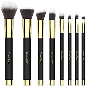 EmaxDesign 8 piezas Juego de brochas de maquillaje cara Fundación Blush de ojos sombra de ojos labios pinceles de maquillaje polvo líquido crema cosméticos herramientas maquillaje (Golden negro)