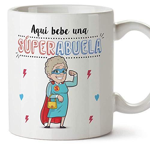 MUGFFINS Taza Abuela - Aquí Bebe una Super Abuela - Taza Desayuno/Idea Regalo Original/Día de la Madre para Abuelitas. Cerámica 350 mL
