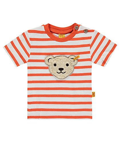Steiff Baby - Jungen T-Shirt 1/4 Arm 6713531, Gestreift, Gr. 68, Orange (mandarin Orange 4650)
