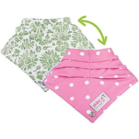 Skibz Doublez Bottoni motivo floreale, verde/rosa a pois