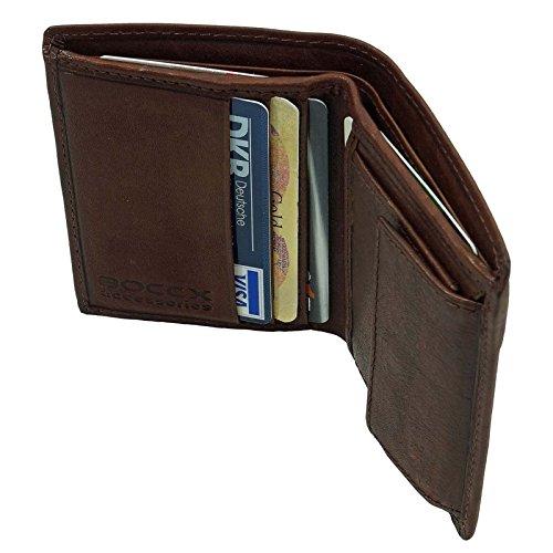 BOCCX Mini Leder Herren Kombibörse Geldbeutel Geldbörse Slim Fold Herrenbörse 50027 brown GoBago (Geldbörse Fold)