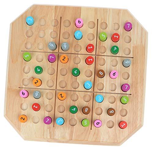 SaniMomo Sudoku Zahlenrätsel aus Holz, Sudoku Steckspiel mit Zahlenkombinationen von 1-9, Kinder Intelligenz Spielzeug