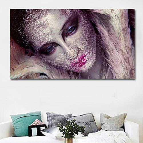 trakte Kunst Schöne Make-Up Mädchen Gesicht Kunst Malerei Leinwand Gedruckt Wandkunst Drucke Poster Für Wohnzimmer Wohnkultur 50X90 cm ()