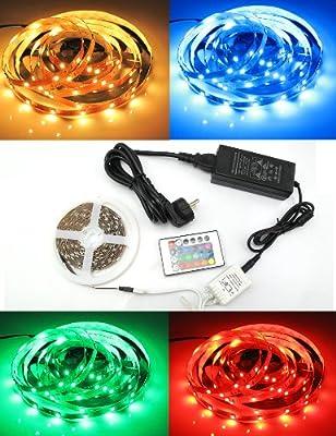 Yorbay 5M LED RGB Strip 150 5050 SMDs Band Leiste Streifen Lichterkette Lichtschlauch 500cm+Controller mit 24 Taste IR Fernbedienung+Netzteil DC 12V Trafo mit Stromkabel Set von Yorbay bei Lampenhans.de