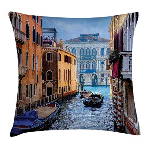 JIEKEIO Cityscape Throw Pillow Cushion Cover, Canal in Venice Italy Landmark Historical Famous Holiday Destinations of World, Decorative Square Accent Pillow Case, 18 X 18 Inches, Blue Brown