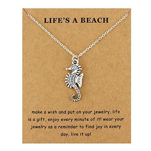 HHDYGASRW Seepferdchen Halskette Seepferdchen Seesand Dollar Seestern Muschel Handtaschen Seewellen Meeresschildkröte Hai Fisch Anhänger Mit Edelsteinen Und Perlen Halsketten (Silber-dollar-fisch)