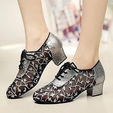 Chaussures De Danse-personnalisable-womens-latin Dance / Jazz / Baskets De Danse Modernes / Modern-square-faux Cuir-argent Silver