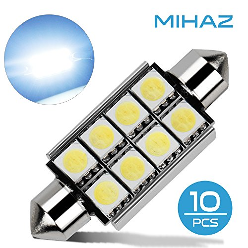 Mihaz 10 x 42mm CAN-Bus senza errori del festone 8SMD W5W C5W 5050 LED SMD lampadine per luci interne auto o targa a LED Bulbi (10 * 42mm 8SMD)