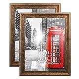 Umi. By Amazon - Lot de 2 cadres rustiques pour photos et certificats 28 x 35,5 cm en Bois Marron - À fixer au Mur ou à Poser