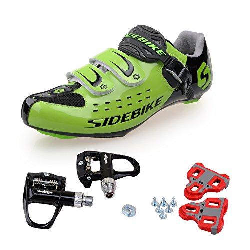 TXJ Rennradschuhe Fahrradschuhe Radsportschuhe mit Klickpedale SD-001 Grün / Schwarz, pedale schwarz