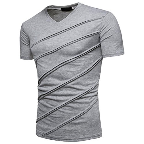 Herren Sommer T-Shirt Bluse Casual V-Kragen Oberteile Kurzarm Solid Button Tops Tank Top (Grau, L)