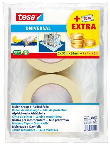 tesa Malerband für einfache Malerarbeiten, 2er Pack, 50m x 30mm + Abdeckfolie 20m²