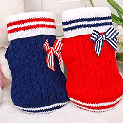 New Lovely Navy Style Pet Dog Puppy Warm Jumper Knit Sweater Clothes Costume Coat Apparel 2