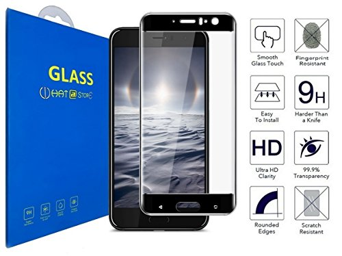 HTC U11 - 3D Incurvé Verre Trempé Transparent 3D Film Protection en Verre trempé écran Protecteur Vitre - Ultra Résistant Dureté 9H Glass Screen Protector pour HTC U11 / HTC U11 Dual SIM (Noir)
