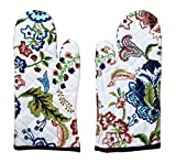 #6: MBT High Quality Cotton Heat Proof Microwave Oven Hand Gloves/ Oven Mitt Set Of 2 (White Multi)