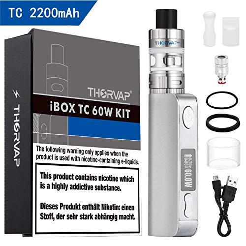 Sigaretta Elettronica,THORVAP TC 60W 2200 mAh OLED BOX MOD Svapo Kit,Ricaricabile Batteria SS 0.3oHm Resistenza/2.0ml Atomizzatore Top Refill- Svapo Senza Liquido,Senza Nicotina né Tabacco (Argento)