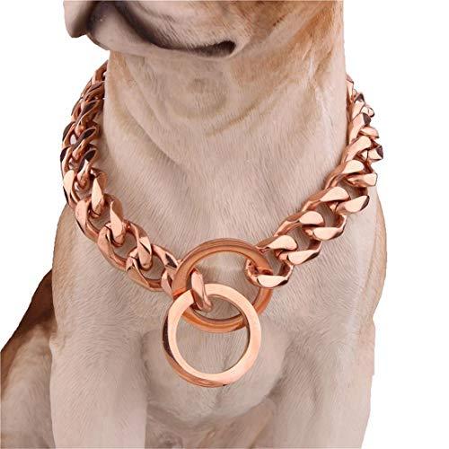 MINI SHOW 12mm Edelstahl Roségold Titan Stahl großer Hund Kette, sechsseitigen glatten Kragen, Hundetraining für große und kleine,Rosegold,22Inches