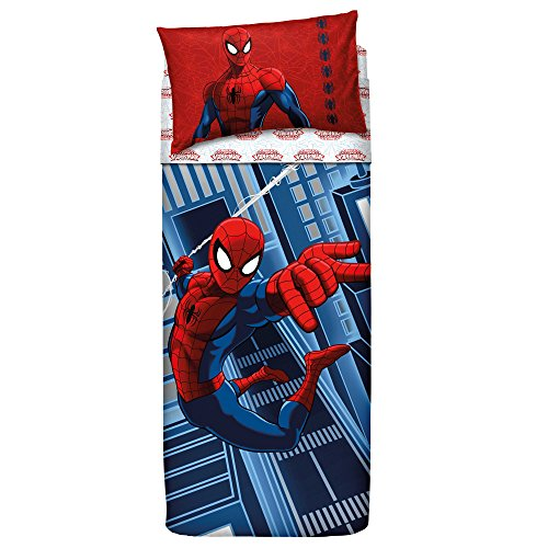 Bassetti 9286344 spider-man, completo letto, cotone, singolo, blu