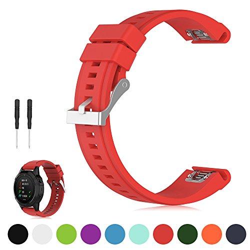 iFeeker 26mm Breite Schnellinstallation Soft Silikon Ersatz Armbanduhr Armband für Garmin Fenix 5X / Fenix 3 / Fenix 3 HR / Fenix 3 Saphir / Garmin D2 Bravo / Quatix 3 / Tactix Bravo Uhrenarmband