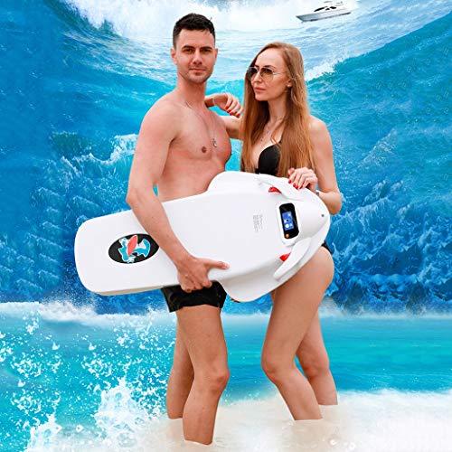 WXX Tabla de Surf, Tabla de Surf eléctrica, Tabla de Surf de Agua, Tabla de Surf Inteligente con Paleta, Apta para Adolescentes en el Parque acuático,White