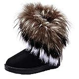 Minetom Mujeres Niñas Invierno Botas Tacón Plano Pelaje Botas De Nieve Calientes Zapatos Negro EU...