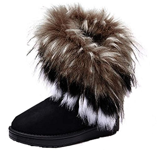 Minetom Mujeres Niñas Invierno Botas Tacón Plano Pelaje Botas De Nieve Calientes Zapatos Negro EU 37