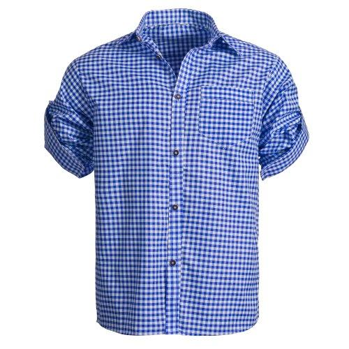 Herren Set Trachten Lederhose hellbaun Kurz mit Trägern + Trachtenhemd Blau Weiß Kariert 48-S - 6