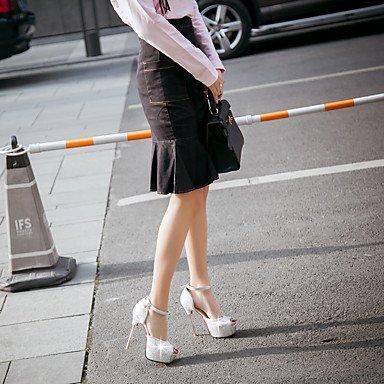 LFNLYX Sandales femmes Printemps Été Automne Autres Partie de mariage et robe de soirée plate-forme talon aiguille rose paillette Strass Or blanc White