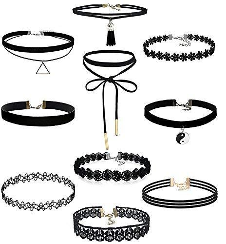 10 Stück Choker Halsketten Set Gothic Tattoo Spitze Choker Ketten Stretch Samt Classic, schwarz...