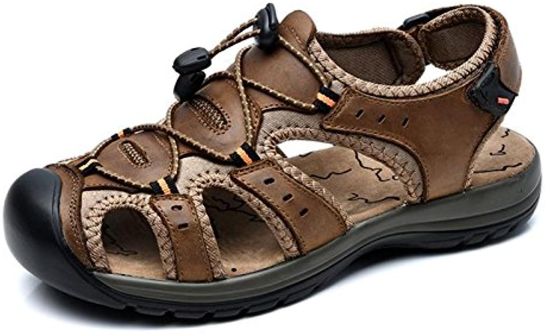 Gomnear Männer Sandalen Schuhe mit Leder Geschlossene Zehe für Sommer Strand Mode und Wasser Schuhe