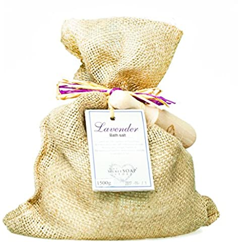 Sal de baño - Bath salts with lavender (1500 g) in a jute sack with wooden scoop. Unique packaging! Particularly suitable for hot tub, jacuzzi and whirlpool Sal de baño -