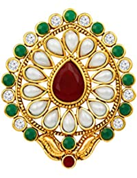 Spargz Antique Gold Plated Multicolor AD Stone With Pearls Traditional Adjustable Finger Ring For Women AIFR 127