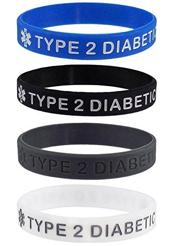 Medizinisches Notfallarmband für Typ2-Diabetiker, Silikon-Armband, Diabetes Typ 2,4er-Packung (Typ-2-diabetes-armbänder)