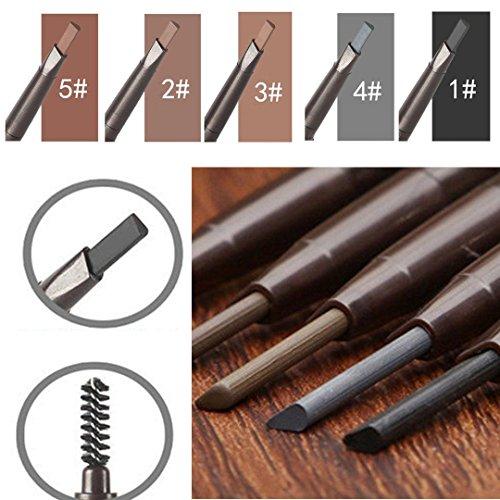 Trillycoler Automatisch Wasserdicht Gedrehte Make Up Stift Eyeline Augenbrauenstift + Pinsel (Schwarz 1#)