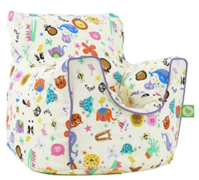 Cotton Party Animal Bean Bag Arm Chair with Beans - inexpensive UK light store.