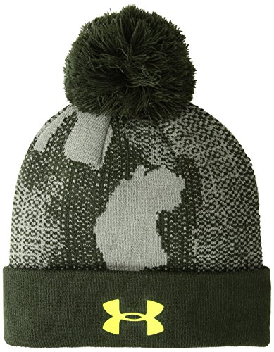 Under Armour Kinder Boy's Pom Beanie Upd Mütze, Moss Artillery Green/High-Vis Yellow (492), OSFA (Vis High Beanie)