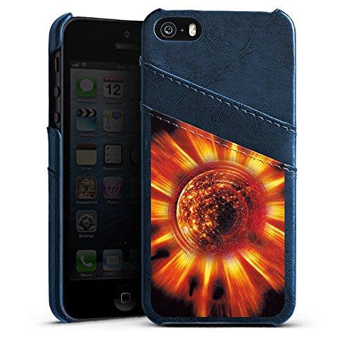 Apple iPhone 4 Housse Étui Silicone Coque Protection Soleil Soleil Feu Étui en cuir bleu marine