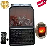 Nifogo Heater Mini Estufa Eléctrica Termoventilador Bajo Consumo, Temporizador de 12 Horas & Adaptador Giratorio Calefactor Electrico para Baño Casa Oficina (X-Llama Calentador)