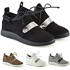 571d8be5a ESSEX GLAM Womens Casual Sneakers Lace Up Flat Wedge Ladies S ..