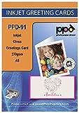"PPD DIN A5 Inkjet ""Super Premium"" Grußkarten Fotopapier beidseitig bedruckbar glänzend/matt 270g, DIN A5 gefalzt auf DIN A6 INKLUSIVE Umschläge x 50 Karten PPD-91-50-ENV"