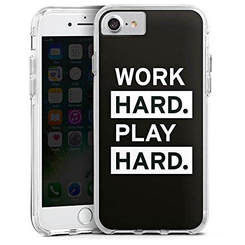 Apple iPhone 7 Bumper Hülle Bumper Case Glitzer Hülle Work Hard Play Hard Motivation Sprüche Bumper Case transparent