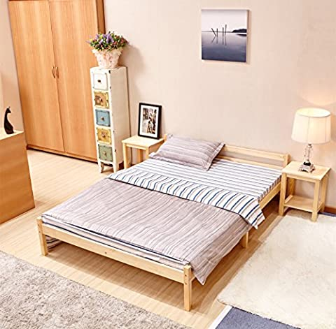 GreenForest Pine Bed Double Wooden Bed Frame Pine