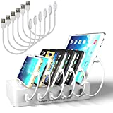 MSTJRY Charging Station for Multiple Devices with Switch Charging Dock 6 Ports Detachable Universal Quick Charger for Smartphones, Tablets (White, 3 Lightning & 3 Micro Cables Included)