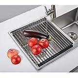 Nandae Sopra il lavandino Roll-up Piatto Essiccazione Cremagliera Silicone per Una Facile Conservazione Della Cucina con Bordi in Silicone 17L 13,5W Pollici