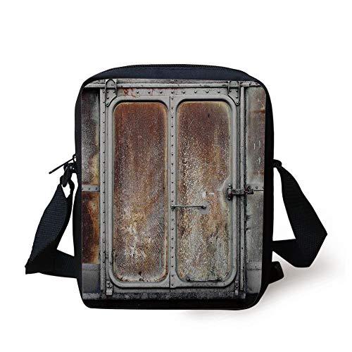 LULABE Industrial Decor,Vintage Railway Container Door Metal Old Locomotive Transportation Iron Power Design,Grey Brown Print Kids Crossbody Messenger Bag Purse