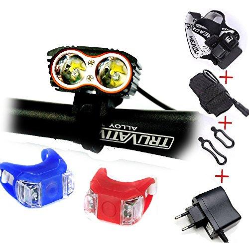 WoFire Linterna LáMPARA para bicicletas bici CREE XM-L U2 - Luz LED frontal para manillar de bicicleta (2 focos, 5000 Lumens, 4 modos) con 2 x Luz Luces Lámpara Trasera para Bici Bicicleta