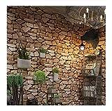 Wallpaper Retro 3D Ziegelstein-Tapeten-nachgemachter Stein-harte schalldämmende Feuchtigkeit antistatische Wohnzimmer-Hintergrundwandbekleidung (ohne Kleber) , 2
