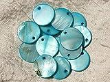 Homemade 10pc–Abalorios Colgantes nácar Redondas 20mm Azul Turquesa